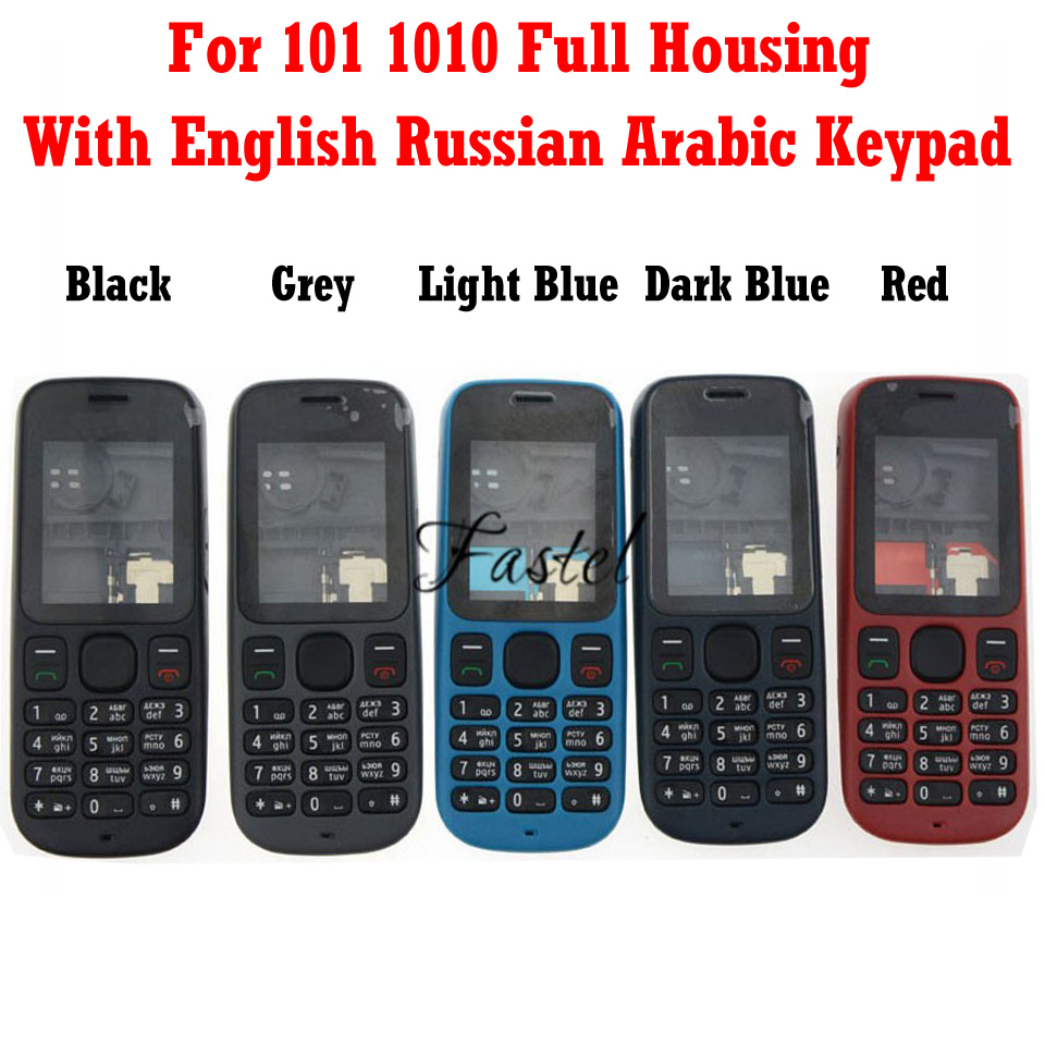 HKFASTEL NEW High Quality Cover For Nokia 101 1010 Full Complete Phone Housing + English Russian Arabic Keypad Cover Case