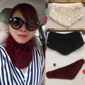 2014 Autumn and winter women's genuine leather muffler scarf double faced 100% genuine rabbit fur knitted neck ring scarf
