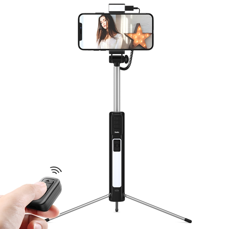 HAWEEL Portable Foldable Tripod Selfie Stick with Tripod Retractable Length: 195mm 825mm