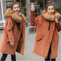 New Fur Parkas 2018 Long Hooded Women Winter Coat Real Raccoon Fur Jacket Corduroy Velvet Plus Size Loose Parka Femme Z110