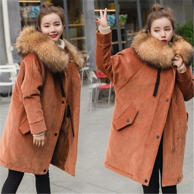 New Fur   Parkas   2018 Long Hooded Women Winter Coat Real Raccoon Fur Jacket Corduroy Velvet Plus Size Loose   Parka   Femme Z110