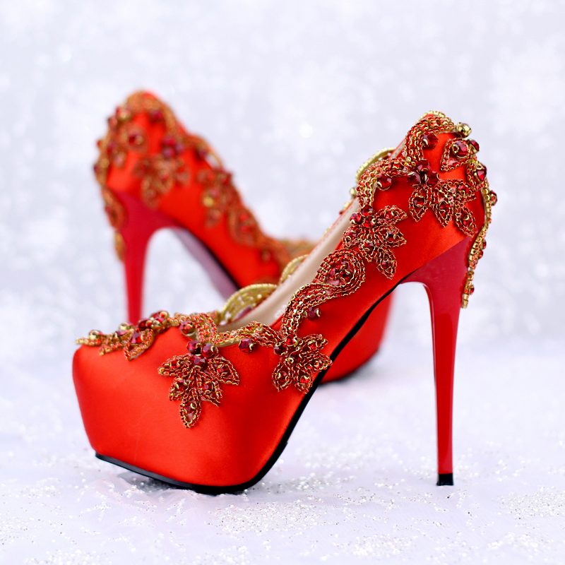 Red silks and satin bride shoes 14cm super heel fine heel crystal shoe water drill bride of the water god v 3