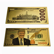 New Design President Donald Trump 1000 Dollar Gold Foil Banknotes Fake Money