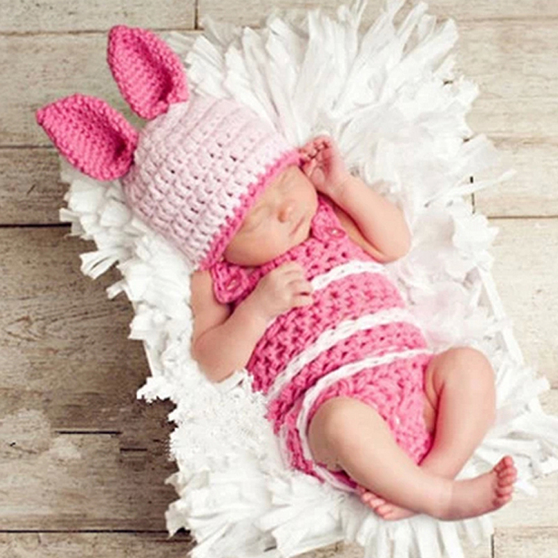 Rabbit Design Baby Newborn Photography Props Crochet Baby Beanie Hat with Suspender Pant Knitted Costume Outfit H092