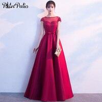 Бордовый атласная длинное вечернее платье Элегантный Блестящий Кристалл трапециевидной формы пикантные прозрачные кружева длиной до пола
