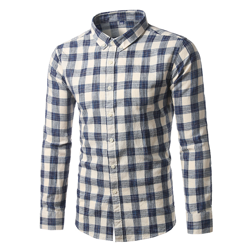 Cigna Long-sleeved Plaid Shirts Mens S 3XL Fashion Casual Men Cotton Shirt Slim Comfortable Breathable Male Tops High Quality