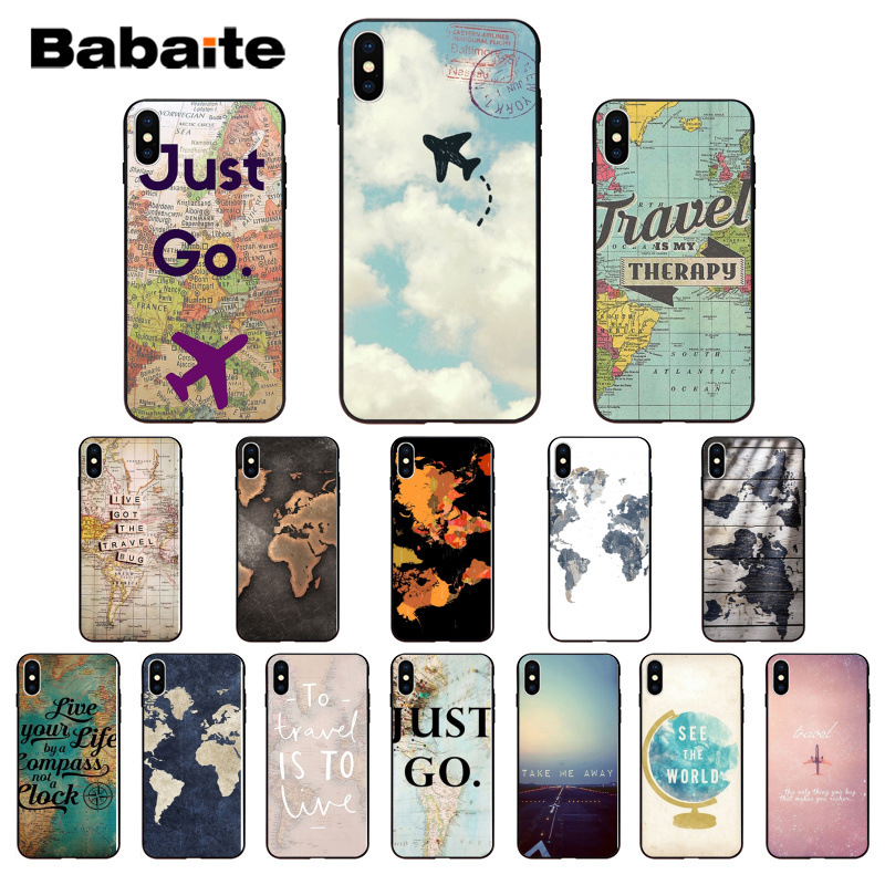 Babaite World Map Travel Plans High Quality Silicone Soft TPU Phone Case for iPhone 8 7 6 6S Plus X XS MAX 5 5S SE XR Cover