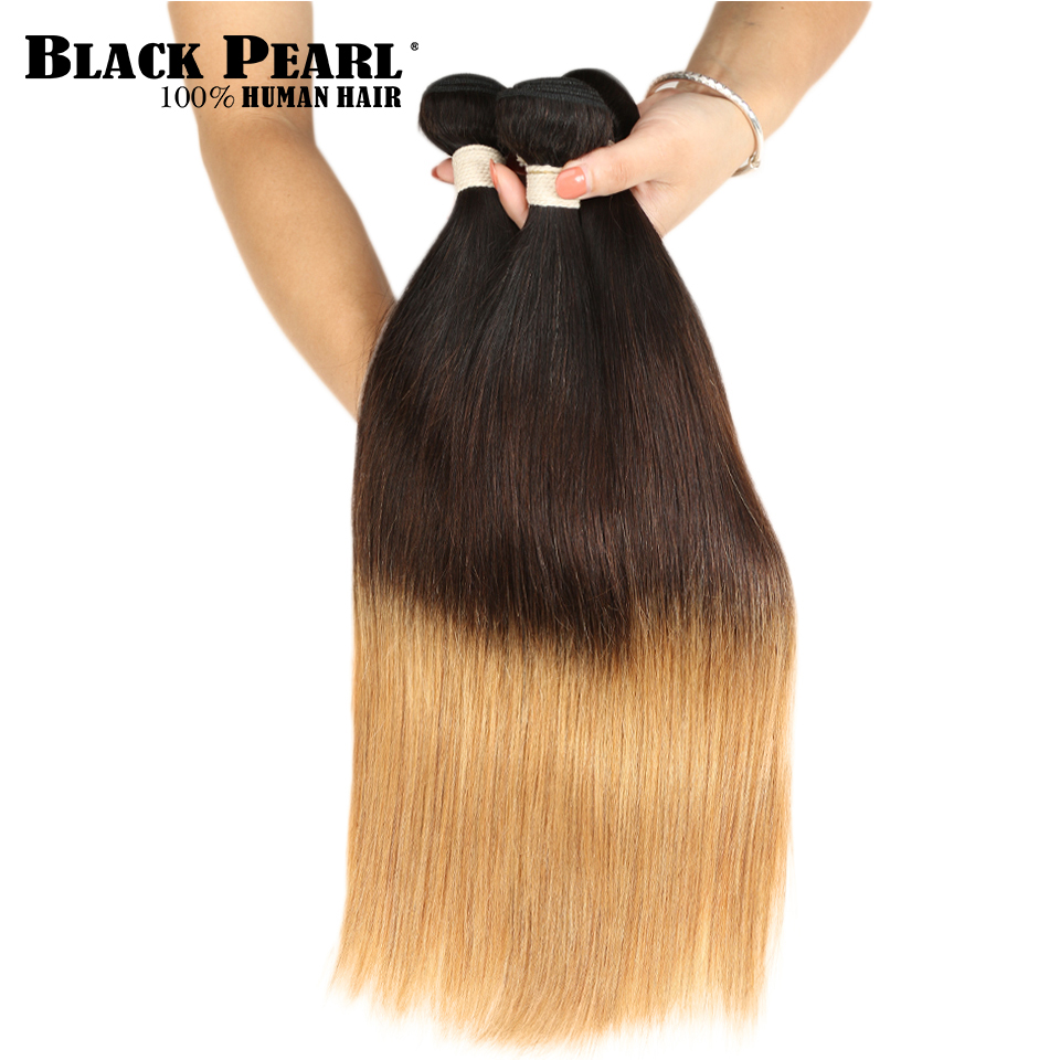 Hair Weaves Black Pearl Blonde Ombre Hair Bundles 100% Peruvian Straight Human Hair Extension T1b/4/27 10-22 Inches Non Remy 1/3/4pc