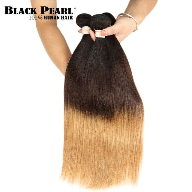 Black Pearl Blonde Ombre Hair Bundles 100 Peruvian Straight Human