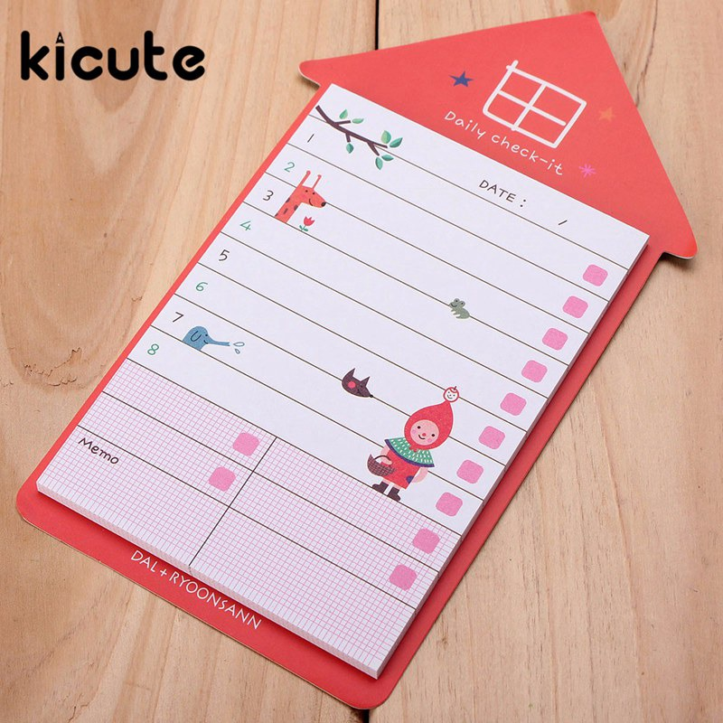 Kicute 1pcs Cute Stationery House Shaped Sticker Post Bookmark Marker Memo Pad Flags Sticky Notes New School Students Supplies