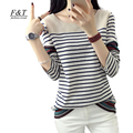 Autumn Women Creative Stripe Printing T shirt Long Sleeve O Neck Loose Fit Japanese Harajuku Style Shirts Woman Tops S-XXL