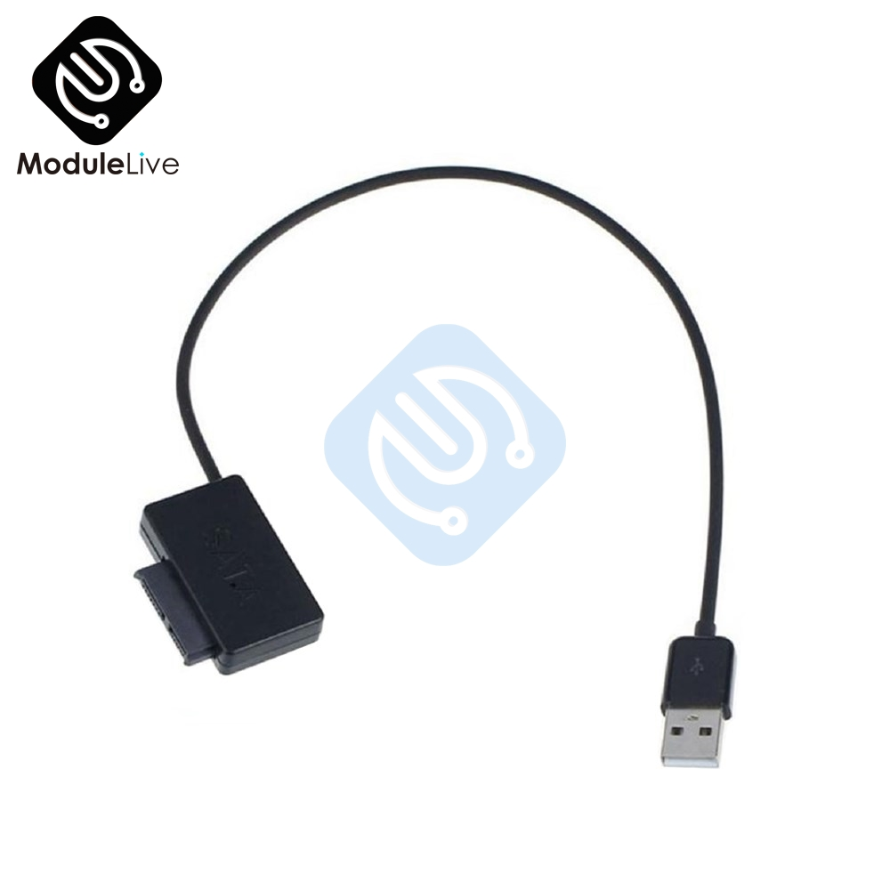 Professional USB 2.0 to 7+6 13Pin Slimline SATA Cable with LED Indicator for Notebook's DVD/CD-ROM for HDD Caddy Drive Adapter image