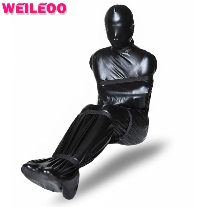 full body sleeping bag leather bdsm bondage kit adult games slave bondage restraints erotic fetish adult