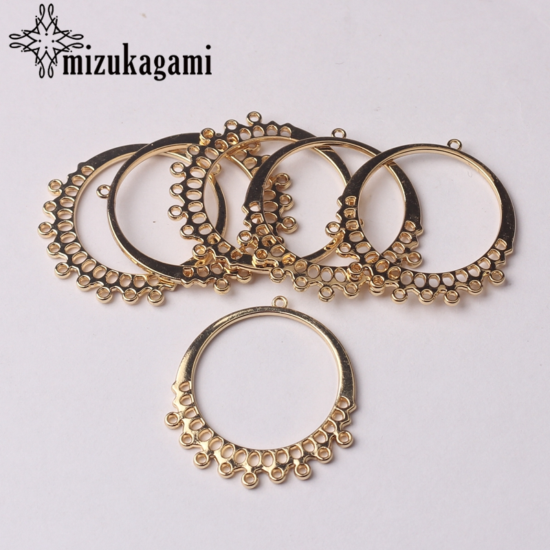 Golden Zinc Alloy Charms Round Shape Circle Connector Tassel Charms For DIY Tassel Earrings Jewelry Making Finding Accessories