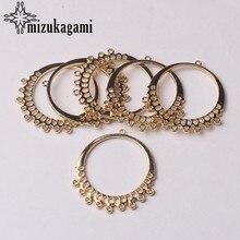 Złoty wisiorek ze stopu cynku okrągły kształt koło złącze Tassel Charms dla DIY biżuteria kolczyki wiszące dokonywanie znalezienie akcesoria