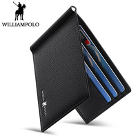 WilliamPolo Money Clip Genuine Leather Clip Wallet Men Money Case With Coin Pocket Brown Black Minimalist Thin Design