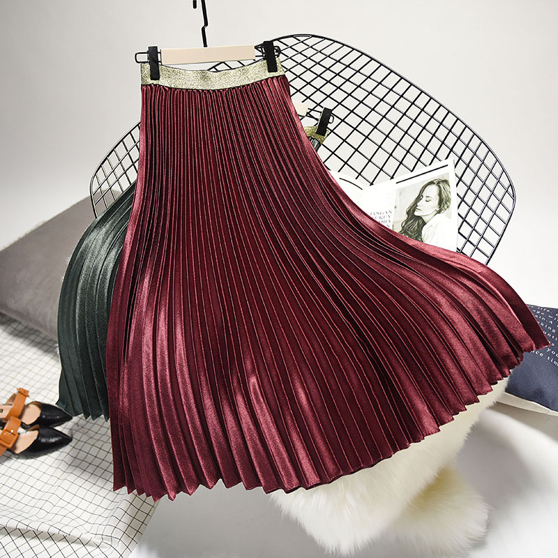 Stretch High Waist Long Pleated Skirt 13