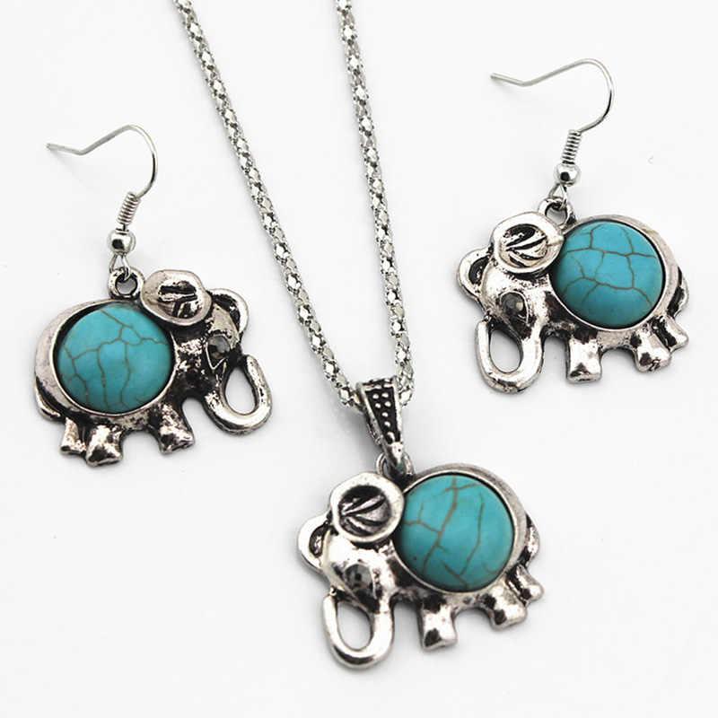 Antique Bạc Màu Trang Sức Bộ Elephant Pendant Hạt Màu Xanh Necklaces Drop Earrings Quyến Rũ Tuyên Bố Cho Phụ Nữ Choker