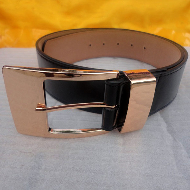 2016 new genuine woman wide leather belt vintage gold metal buckle leather high quality women's belt for female jeans skirt belt