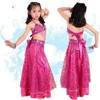 2016 New Design Children Belly Dance Costume Set 3pcs Indian High Class Kids Bellydance Wear Bra