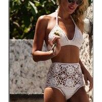 Biquini 2017 New Handmade Crochet Bikini Set High Wait Swimsuit Sets Sexy Fringe Swimwear Women Knitting