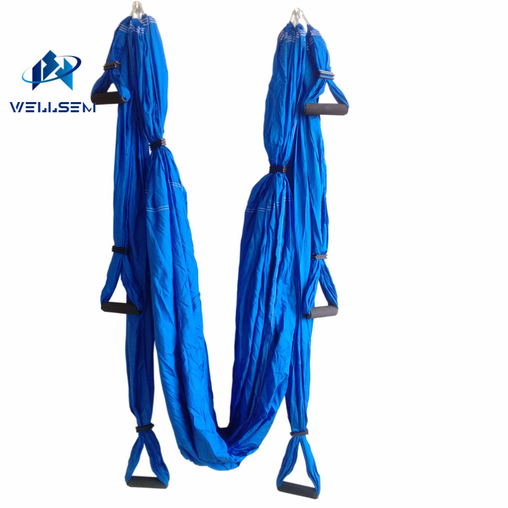 1set retail Aerial Yoga Hammock pilates band Yoga Inversion Swing Trapeze Anti-Gravity Belt Tool equipment+ 6 handle 4 hooks aerial anti gravity yoga belt w elastic orange