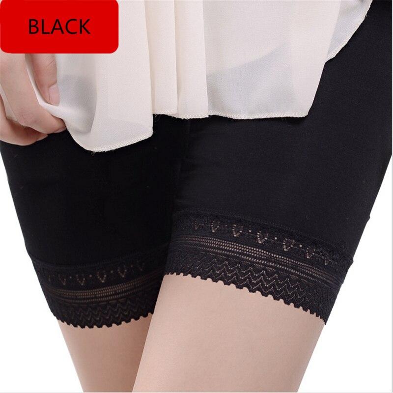 Women Lace Bottom Leggings Seamless Under Skirt Stretch Pant Beige Black Legging