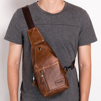 100% First Layer Genuine Leather Casual Chest Pack Men Shoulder Bag Male Crossbody Sling s Men's Messenger For Travel