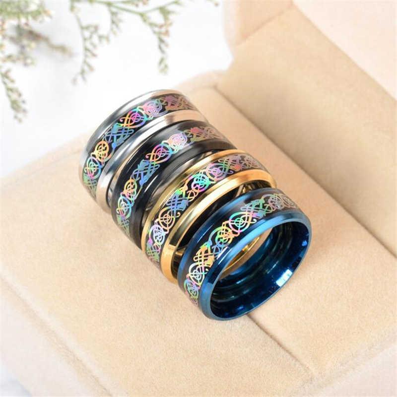 316L Ataullah Colorido Azul Ouro Preto de Aço Inoxidável Anel de Casamento Banda De Fibra De Carbono Dragão Anéis para Homens e Mulheres RWD7-055