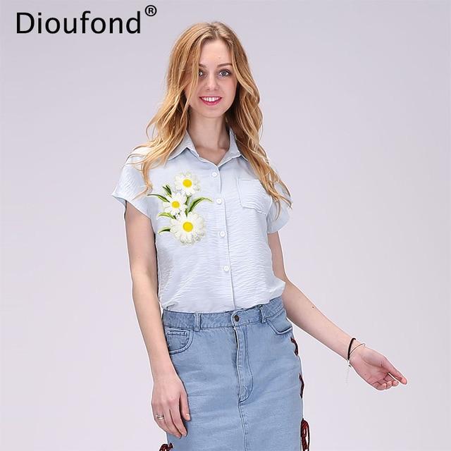 Dioufond Short Sleeve Blouse Summer Floral Appliques Shirts Women White Blouse Shirt Turn-down Collar Blouses New Blusas 2017