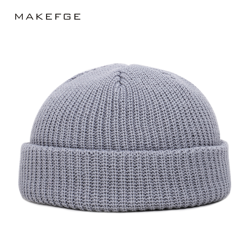 2019 Men And Women Winter Hat Solid Color Knitted Hat Autumn And Winter Double Thick Warm Hat Simple Outdoor Casual Woman Peas