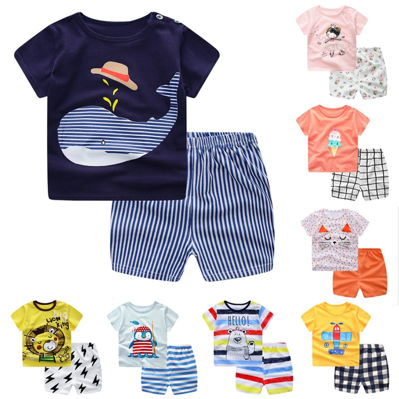 Newborn Baby Boys Girls Clothes 2018 Cute Cotton Baby Clothing Set Short + Pant 2pcs Summer Spring Suit Little Girl Clothing Set