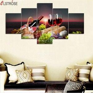 5 шт. картины красного вина CLSTROSE, плакаты с принтом винограда и фруктов, настенный Декор для дома, картина для гостиной, настенные картины