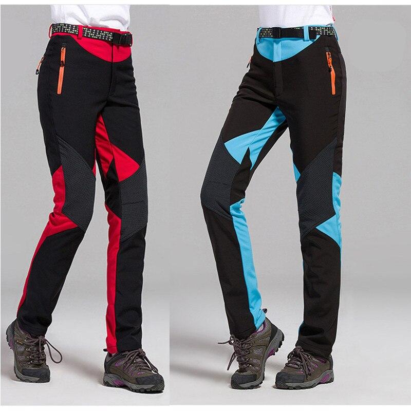 Randonnée en plein air pantalons de cyclisme femmes Softshell Trekking pantalon de pêche coupe-vent escalade hiver femme polaire pantalon chaud