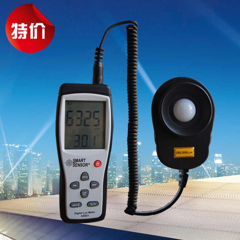 AS823 Digital Illuminance meter Lux meter light spectrum meter Luminometer luxmeter Light Measurement 1 ~ 200.000lux fast arrival victor illuminance meter vc1010b meter meter lumens tester illuminance meter brightness table