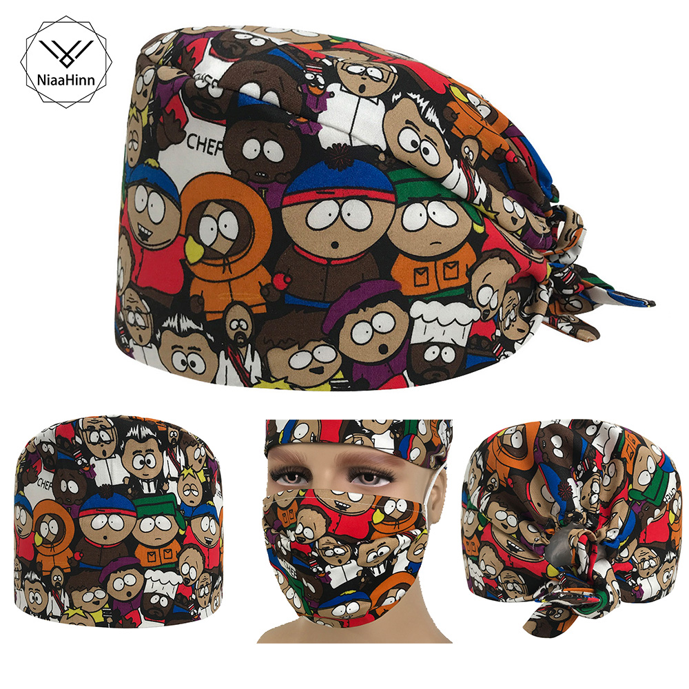 Womens Surgical Caps For Nurses Pattern Operating Room Surgery Scrub Hats Cute Cartoon Print One Size Tie Tie Back Surgeon Hat