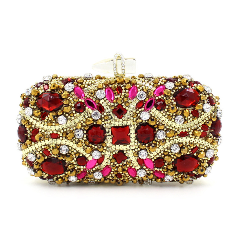 Women Famous Brand Crystal Evening Metal Clutches Shiny Ruby Beaded Clutch Bags Handbags Bolsos Mujer sac a main femme de marque women gold handbags blue crystal evening purse metal red clutches silver beaded bridal wedding box clutch bags bolsos mujer