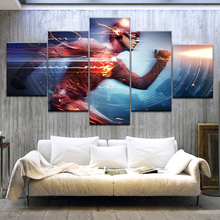 5Panel/piece Wallpaper Grant Gustin The Flash HD TV Series Print On Canvas Art Painting For home living room decoration