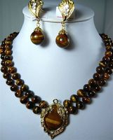new Style Hot sale**** 2 Row 8mm Natural Tiger Eye Stone Necklace Pendant Clip Earrings Set Fashion Wedding Party Jewellery