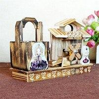 Moderne Rustieke Stijl Houten Muziekdoos Windmolen Huis Muzikale Geschenken Brief Figurine Model Suveniour Gift carrossel Muziekdoos