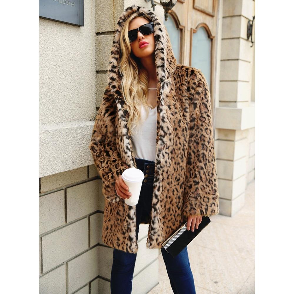 2018 Leopard Print Winter Women Faux Fox Fur Coat Plus Size Hooded Fur Jacket Coat Cat Ear Warm Long Sleeve Jacket Overcoat 2XL