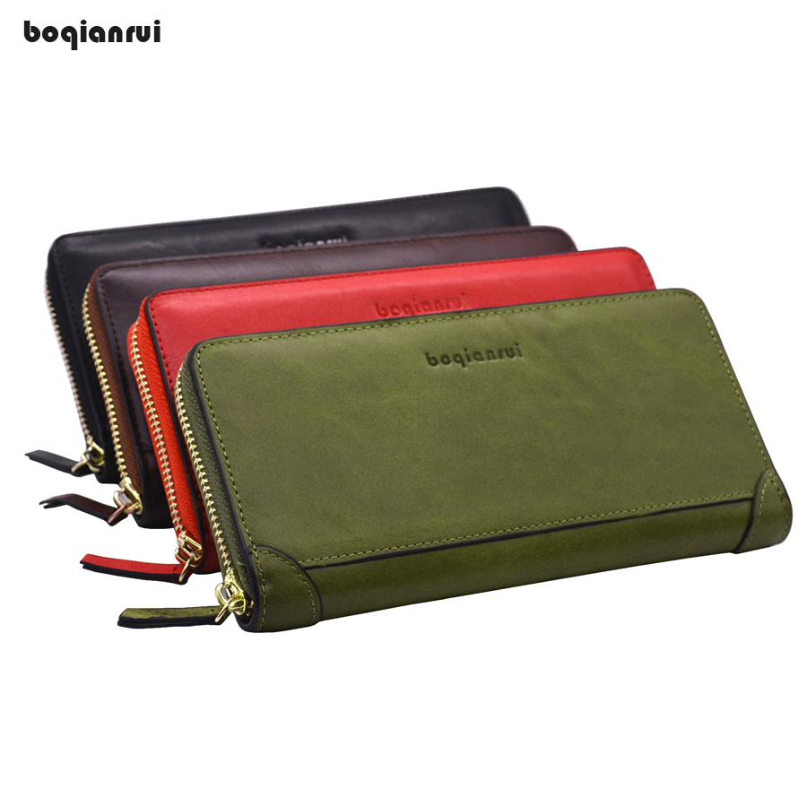 New Genuine Leather Women Wallet Female Long Zipper Clutch Fashion Purse Capacity Coin Holder Card Holder Pouch new arrival fashion women s clutch long wallet girl pu leather portable coin bag purse colorful female cards holder phone wallet
