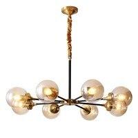 Пост Современная настоящая винтажная латунная подвесная люстра стеклянный абажур 27 светодиодные лампы Кунг гостиная столовая украшение д