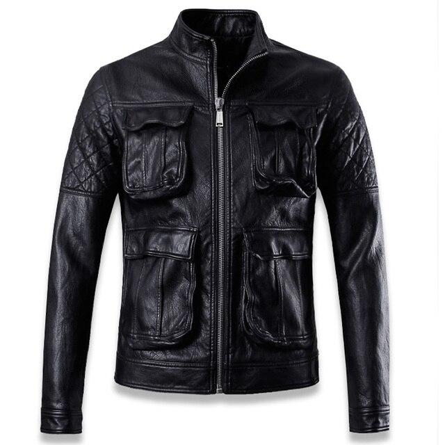 Мода Мужская Мотоцикл Кожаные Куртки С Функциональными Карманами Супер Качество Негабаритных Slim Fit Мужские Кожаные Байкерские Куртки C012