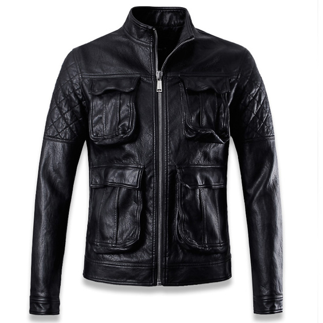 Fashion Mens Motorcycle Leather Jackets With Functional Pockets Super Quality Oversize Slim Fit Mens Biker Leather Jackets C012