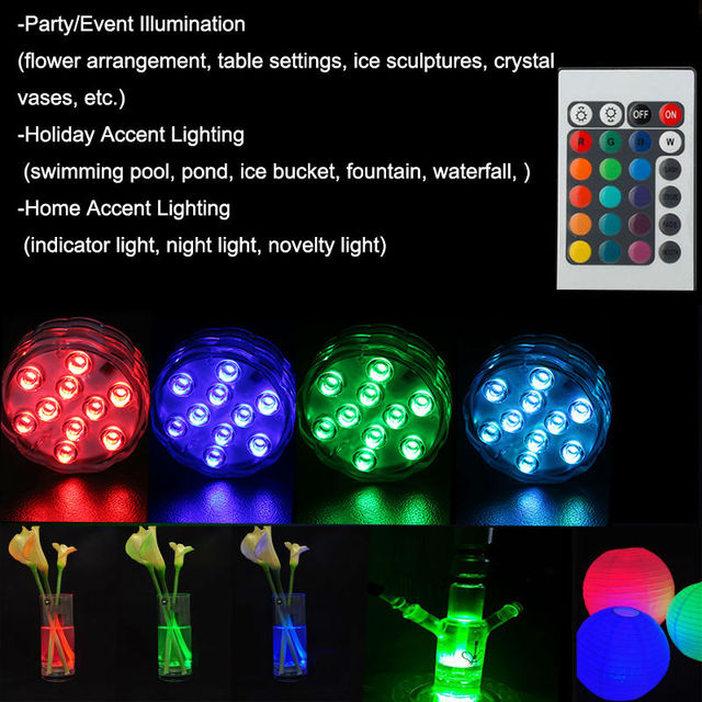 100pcs Ir Remote Controlled Rgb Submersible Led Lights Aa Battery Operated Accent For Lighting