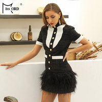 0890a68b25c8 Missord 2019 Summer Runway Celebrity Evening Party Elegant Sexy Feathers  Short Sleeve Mini Bodycon Club Dress