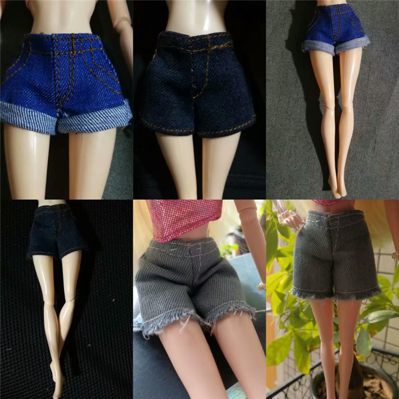 New Arrival Pants Clothes For Barbie Doll Silk Stockings Denim Shorts For 1/6 Bjd SD Dolls Dress