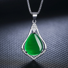 VINNAGO Create Emerald Necklace Women Cubic Zirconia Synthetic Ruby Necklace & Pendant for Women Ruby Jewelry Valentine Day Gift