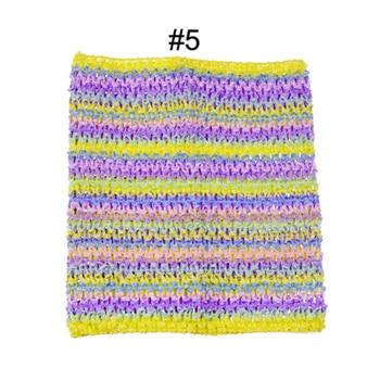 Вязанная крючком юбка-пачка для маленьких девочек, 9 дюймов, топы-трубы, обхват груди, широкая вязаная крючком, топы, юбка-пачка «сделай сам», платье, поставщик - Цвет: no 5 stripe tutu top
